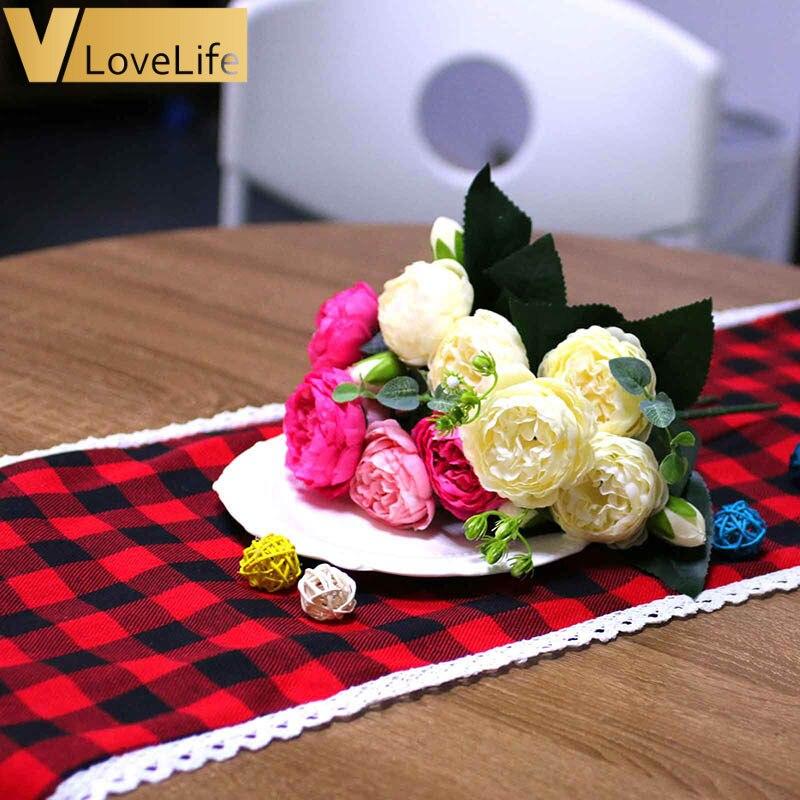 176cm preto vermelho corredores de mesa única camada xadrez pano escócia multi tamanho retângulo mesa café linho casa algodão decorativo