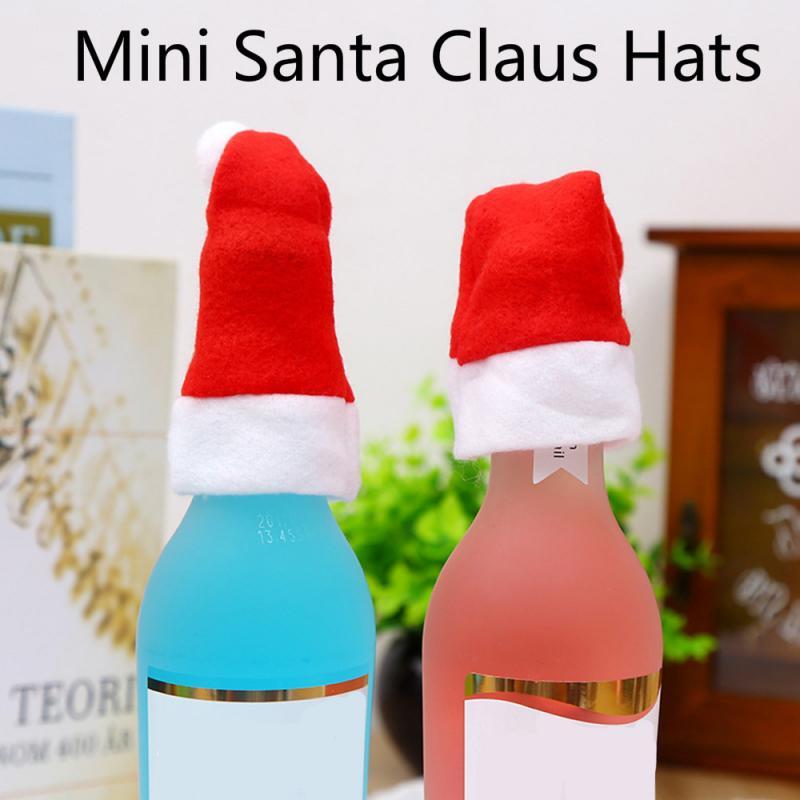 1 Uds Santa fiesta sombrero Rojo Tapa cubierta de la botella de vino de Navidad fiesta de Navidad lindo tapa regalos de Año Nuevo decoración Lollipop muñeca Candy Decoración