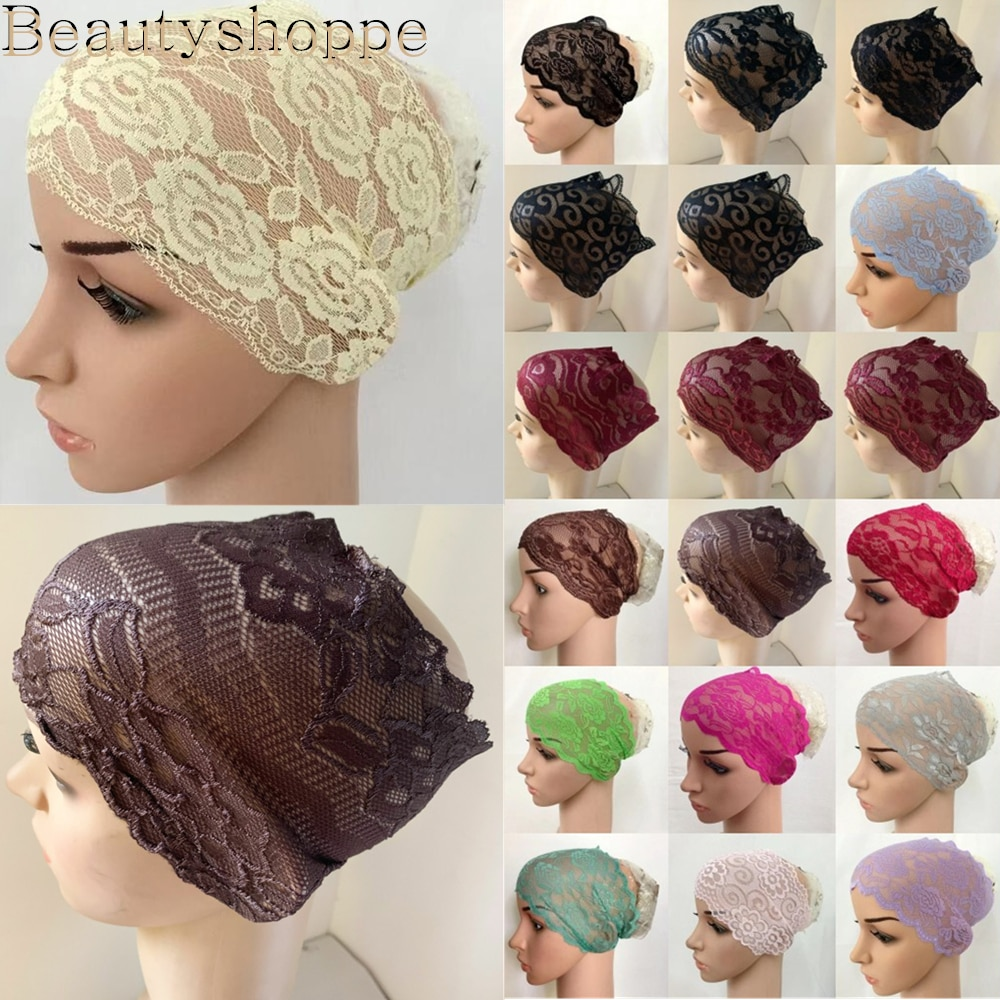 Muçulmano feminino cabeça cachecol rendas underscarf estiramento hijab capa headwrap underscarf cap xale islam cachecol interno bandana bonnet