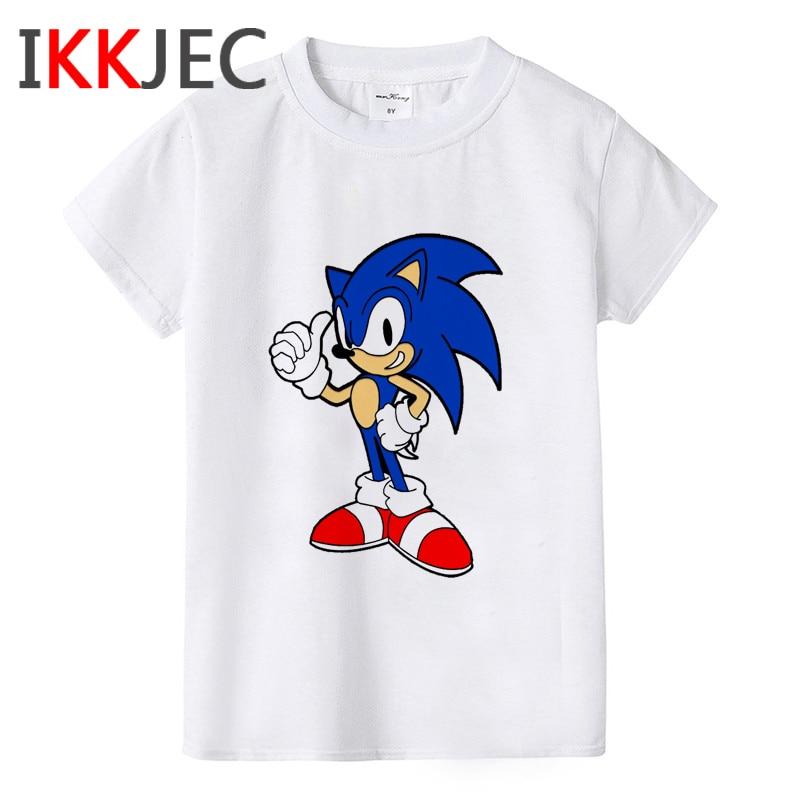 Sonic The Hedgehog divertida camiseta de dibujos animados niños niñas Kawaii Sonic camiseta Linda Anime camiseta gráfica moda Top Tee niños