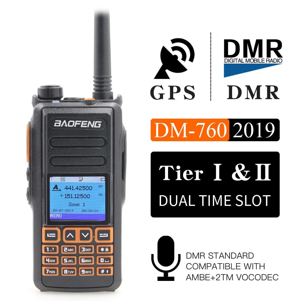جديد BaoFeng UHF VHF المزدوج العلامة التجارية DMR DM-760 الطبقة 1 و 2 التوقيت المزدوج فتحة الرقمية/التناظرية اسلكية تخاطب مع GPS uppgrade من DM-1701