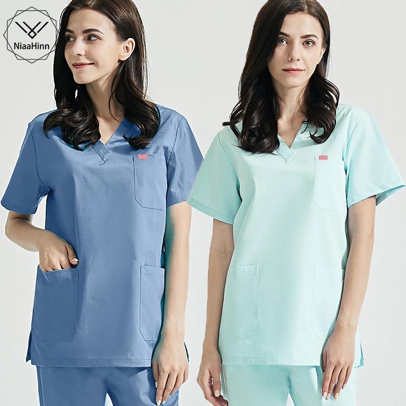 Spa Uniforms Beauty Salon Scrubs Set Female Short Sleeve Coat+Pants Women Scrubs Clothing Health Work Suits Scrubs Top and Pant