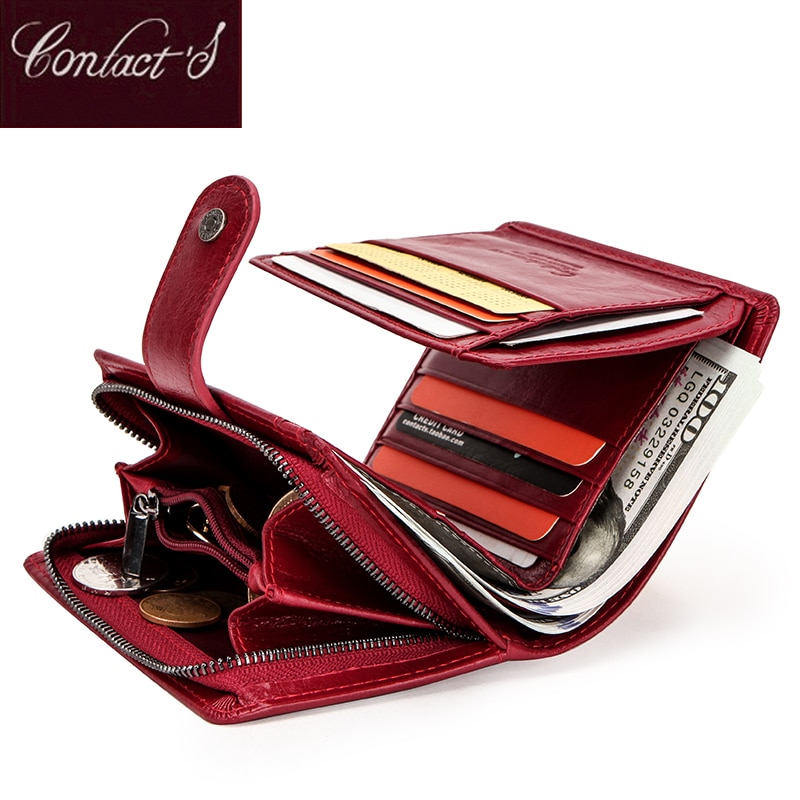 Contact's Genuine Leather Wallets Women Men Wallet Short Small Rfid Card Holder Wallets Ladies Red Coin Purse Portfel Damski contact s fashion genuine leather women wallet small standard wallets coin bag brand design lady purse card holders red brown
