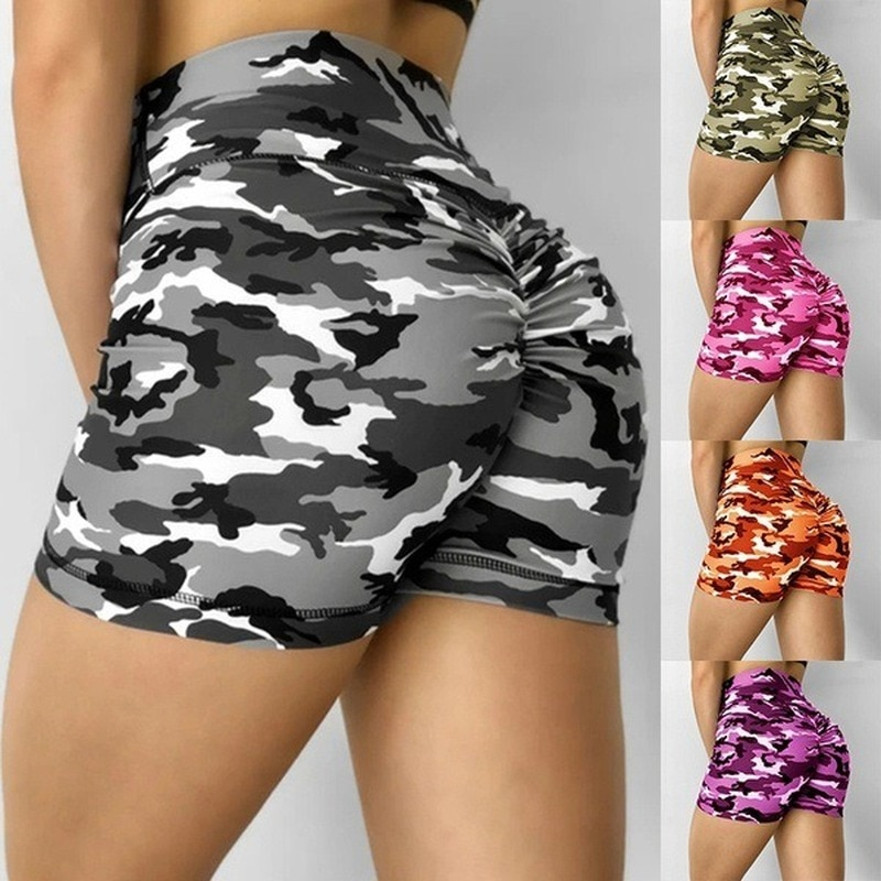 Women Camouflage Camo Tights Sweat Shorts BUBBL Slimming Short Yoga Pants Scrunch Gym Fit Workout Sp