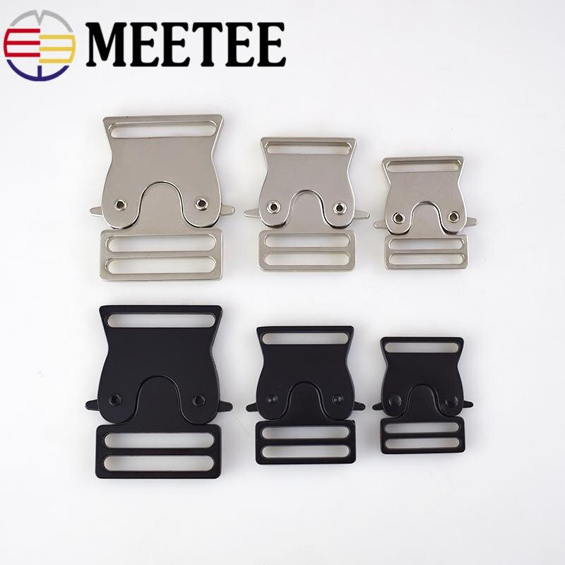 Металлическая сумка Meetee с быстроразъемной пряжкой, Воротник для собак 25/30/38 мм, тканевая лента для регулировки пряжки, аксессуары для одежды, тактические ремни, 2 шт.