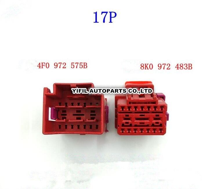 17 pinos/way 17 p masculino fêmea assento dianteiro docking conforto computador plug conector terminal para vw audi 8k0 972 483 b 4f0 972 575 b