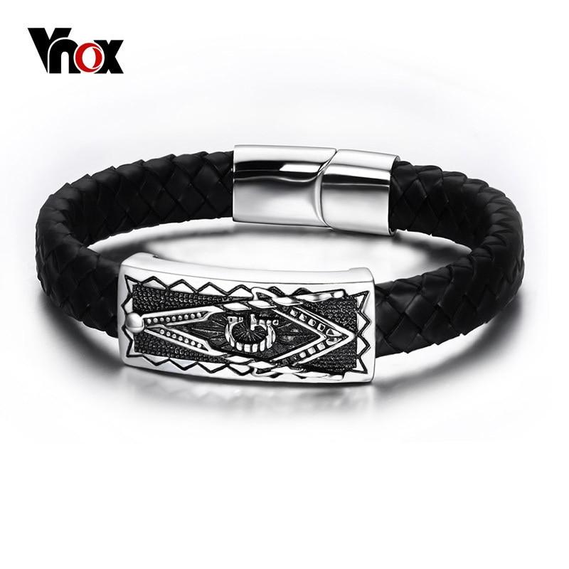 Vnox мужские браслеты из нержавеющей стали, масонский браслет, панк, натуральная кожа, черный браслет, браслеты с магнитной пряжкой, ювелирные...