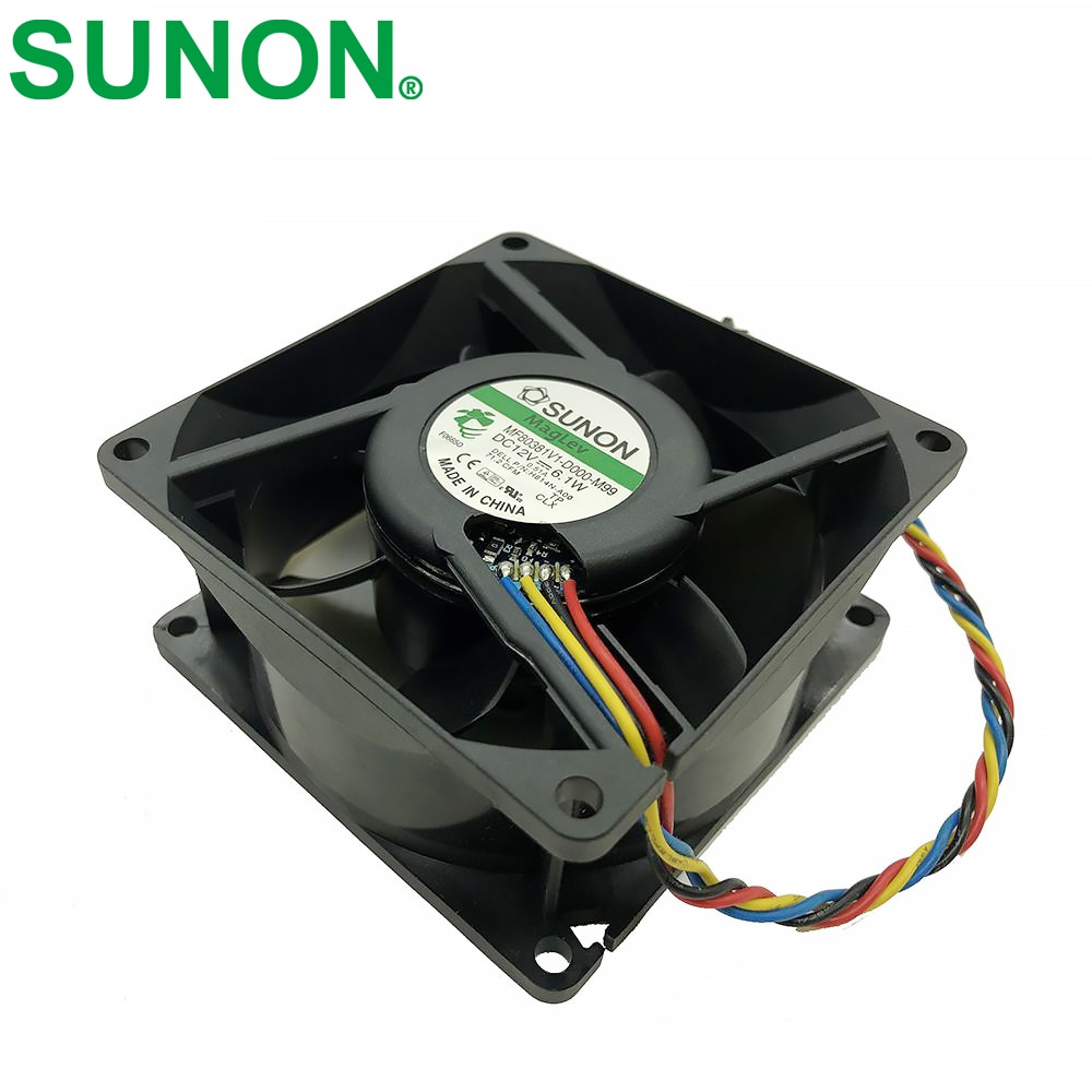 For SUNON H814N-A00 MF80381V1-D000-M99 DC 12V 6.1W 4-wire 4-pin connector 80mm 80x80x38mm Server Square Cooling fan emacro fcn dfs501105pq0t fcbq dc 5v 0 5a 4 wire 4 pin 70mm server blower fan