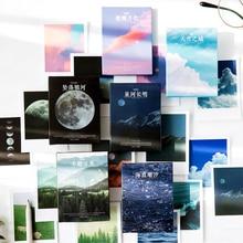 Journamm-pegatinas adhesivas estilo Lomo, 30 unidades, Luna, Océano, regalo para niños, Scrapbooking, Kawaii, papelería decorativa