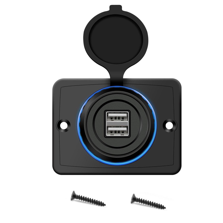 Автомобильное модифицированное Зарядное устройство USB со светодиодной диафрагмой 3,1 А, автомобильное зарядное устройство с двумя USB-портам... автомобильное зарядное устройство one бирюзового цвета