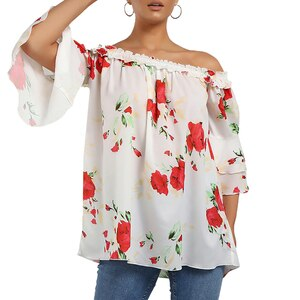 Floral Print 3/4 Sleeve Ruffle Blouse Sexy Women Off Shoulder Slash Neck Blouses Tops Chiffon Loose Ladies Blouses and Tops D30