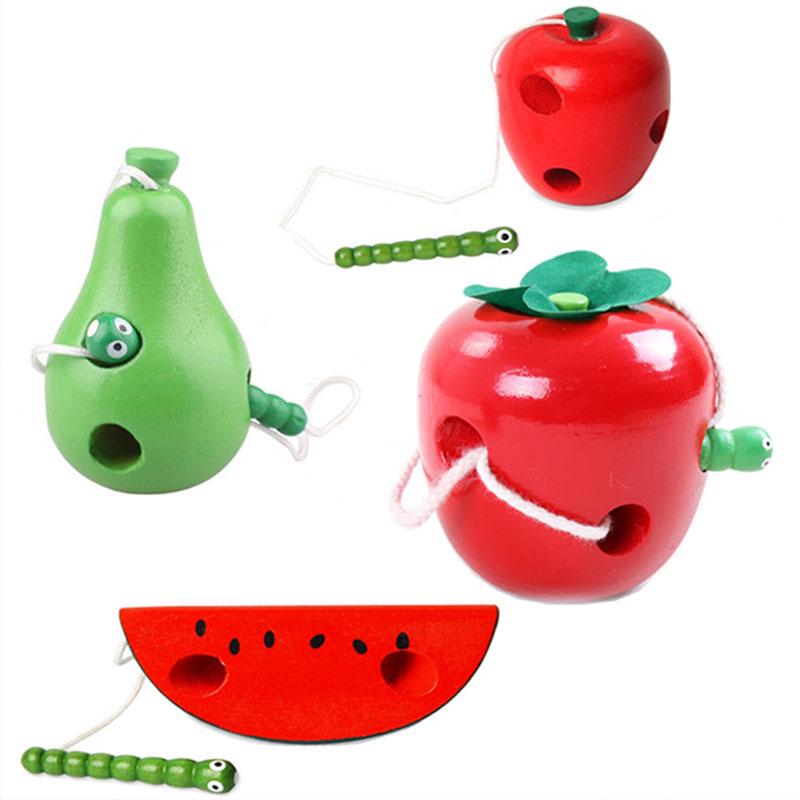 Montessori juguetes de madera para bebés gusano comer la fruta queso juguetes de madera del bebé juguetes educativos para niños de la cuerda-piercing Montessori juguetes regalos