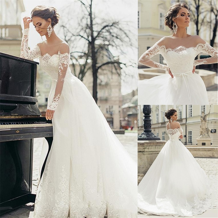 Gorgeous Tulle Sheer Off the Shoulder Jewel Neckline A-line Wedding Dresses With Lace Appliques Long Sleeves Bridal Gowns