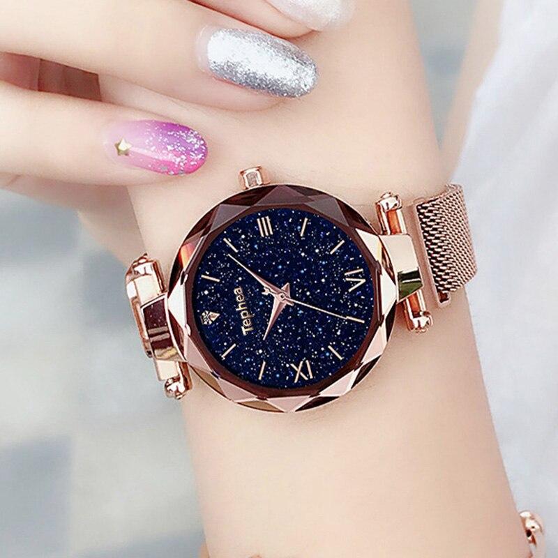 Brand new design ladies watch luxury magnetic starry sky quartz fashion Relogio Feminino