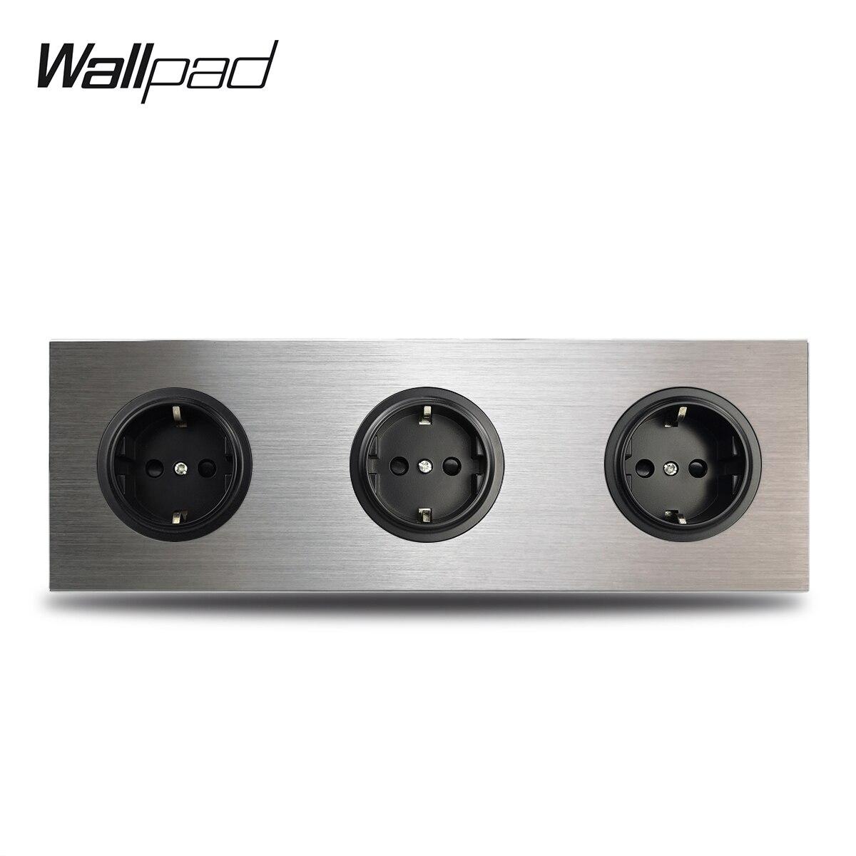 Wallpad 3 Gang трехсекционная рамка Европейская настенная электрическая розетка немецкая штепсельная вилка розетка серебристая панель из матового алюминия двойная пластина 172*86 мм