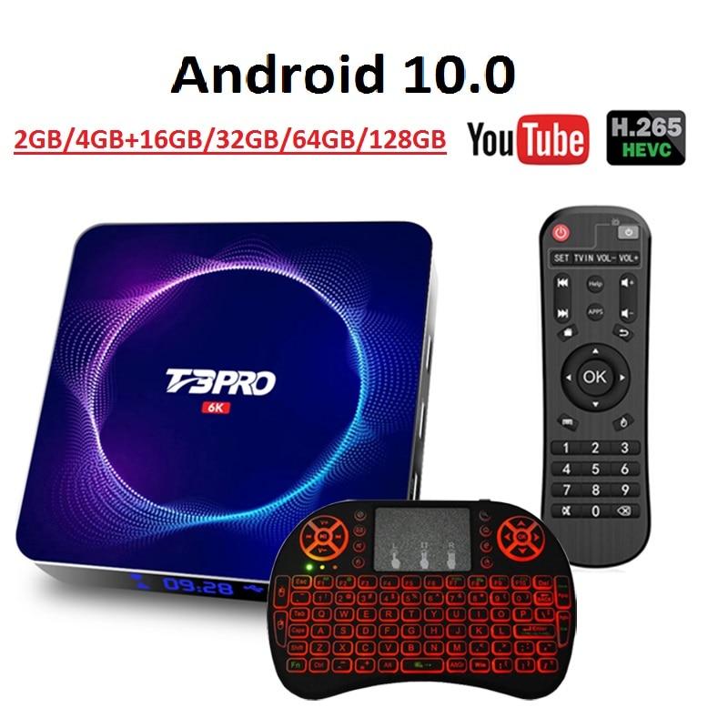 Mais recente t3 pro caixa de tv android ultra hd 6k wifi bt 4gb 64g 128g play store muito rápido definir caixa superior h.265 tv apoio receptor youtube