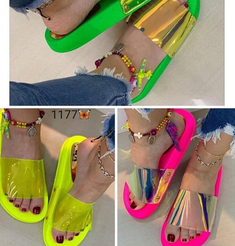 Novo 2020 moda verão sandálias femininas sapatos claros deslizamento-em geléia sapatos bling senhoras plana praia sandálias de férias ao ar livre slide