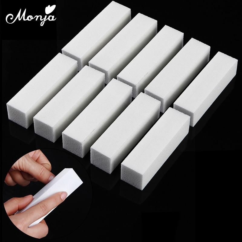 Белый буфер для дизайна ногтей Monja, 10 шт., шлифовальная полировальная губка для ногтей, пилочка для ногтей, шлифовальный аппарат для маникюра