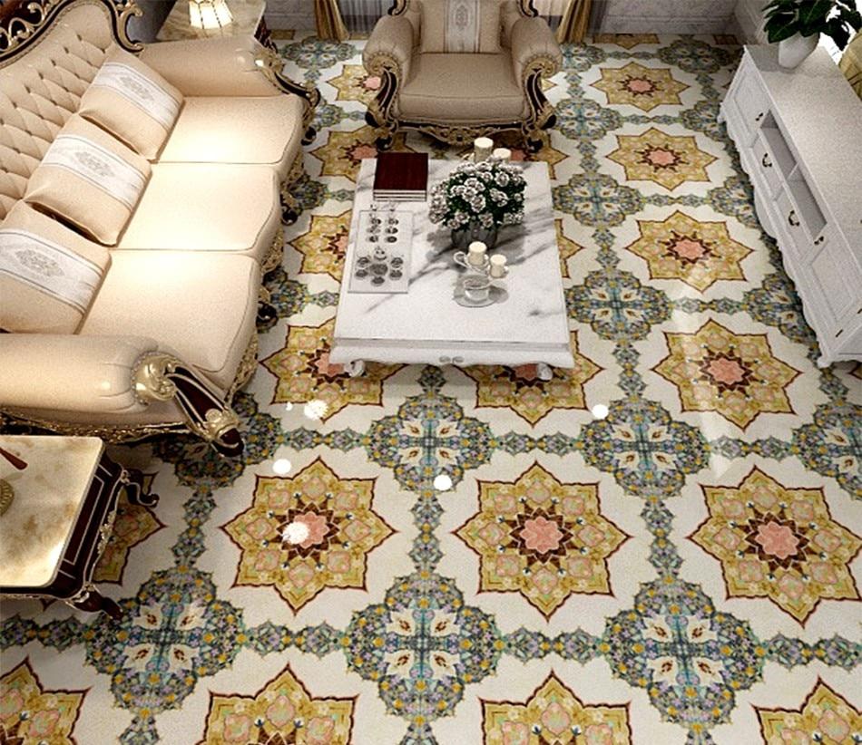 Baño 3D suelo Mural pintura sala de estar restaurante autoadhesivo europeo mármol parquet piedra sala de estar