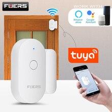 Fuers Tuya Smart Home WiFi Sensor de puerta Detectores de puerta abierta Sistema de alarma de protección de seguridad Alerta de seguridad para el hogar Alarma de seguridad