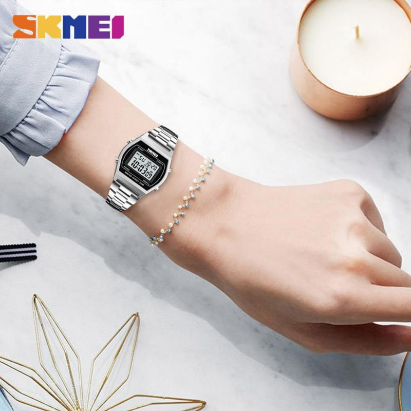 SKMEI Fashion Ladies Watches Outdoor Sport Luxury Alloy Digital Watch Strap Business Relogio12/24 Hours Relogio Feminino Digital enlarge