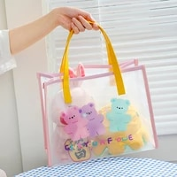 kawaii bear shoulder bags for girls summer beach transparent handbag lady clear jelly tote bags cute travel shopping bag