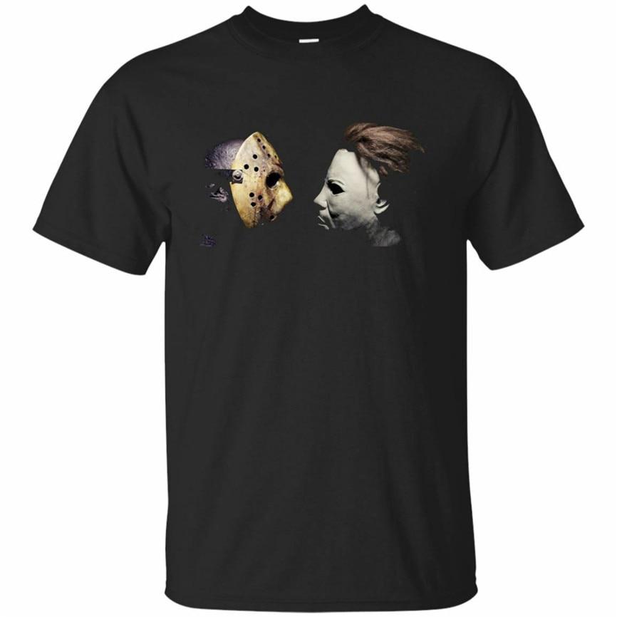 Camiseta divertida Michael Myers Jason Mask para hombre, camiseta de Halloween, camiseta retro negra de la Marina