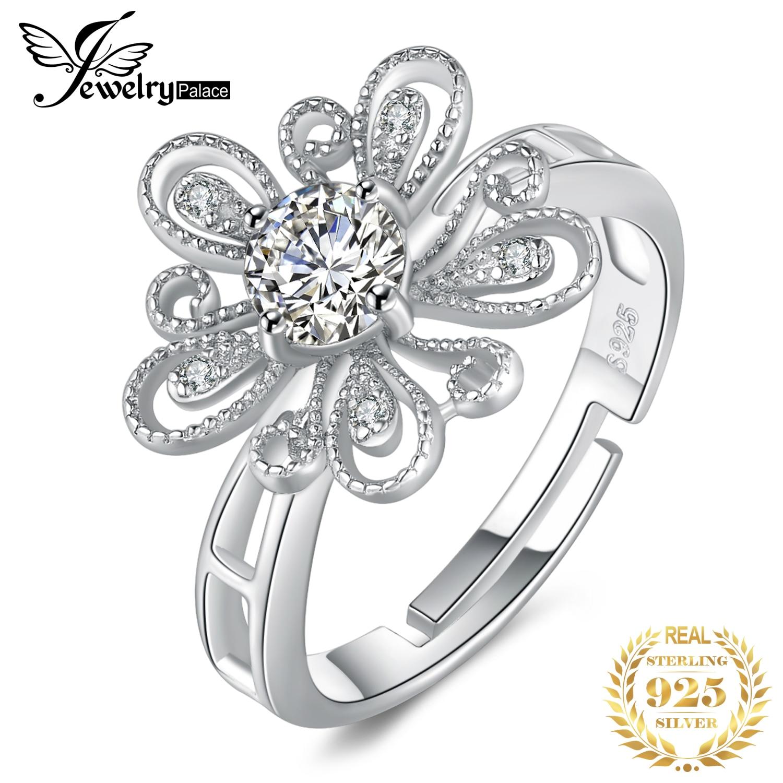 JewelryPalace Circonia cúbica CZ migrain Flor de filigrana ajustable anillo abierto 925 anillos de plata esterlina para regalos de mujeres