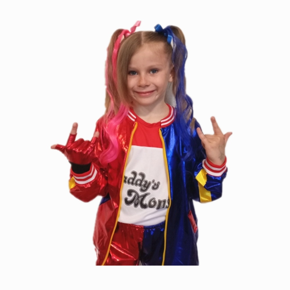 Harley Отряд Самоубийц Харли Куинн Quinn Cosplay Costumes Girls Kids Joker Jacket Carnival Party Costumes Gloves Wig