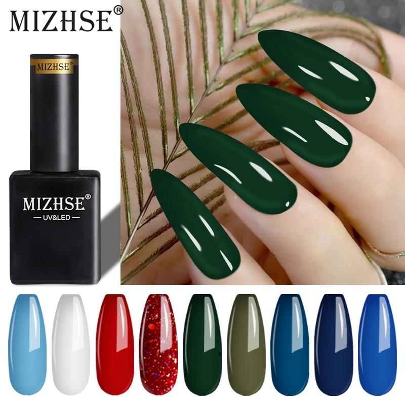 MIZHSE Gel Polish Set UV Led Glitter Nail Gel Varnish Nude Red Color Serieds 2pcs/set Soak-Off Long-lasting Nail Lacquer