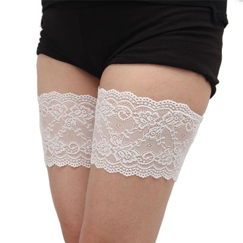 Calcetines holgados de moda Sexy encaje para pierna calentadores de mujer de silicona antideslizante antirozaduras bandas de muslo Anti-fricción Delgado transpirable