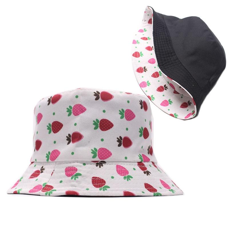 Fisvds New Arrival Adult Women Men Strawberry Print Hat Summer Flat Top Sunscreen Outdoors Cap Cotton Bucket Hat
