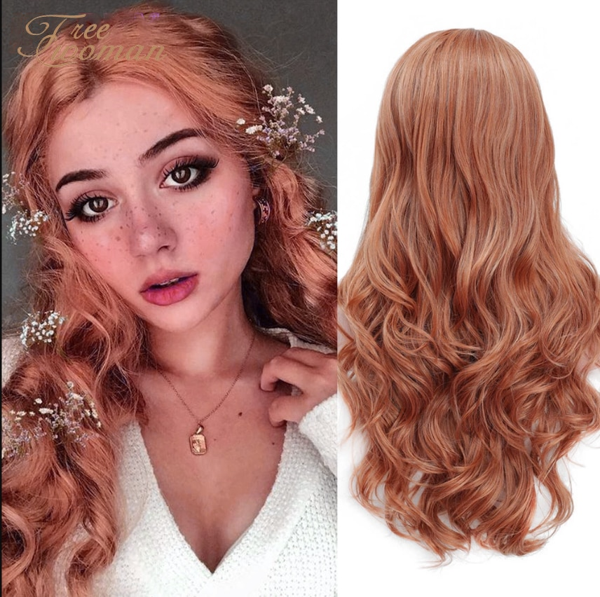 FREEWOMAN Pink Synthetic Lace Front Wig Black Wavy Fake Hair Synthetic Wigs For Woman Lace Wig 24 Inch Honey Orange Purple