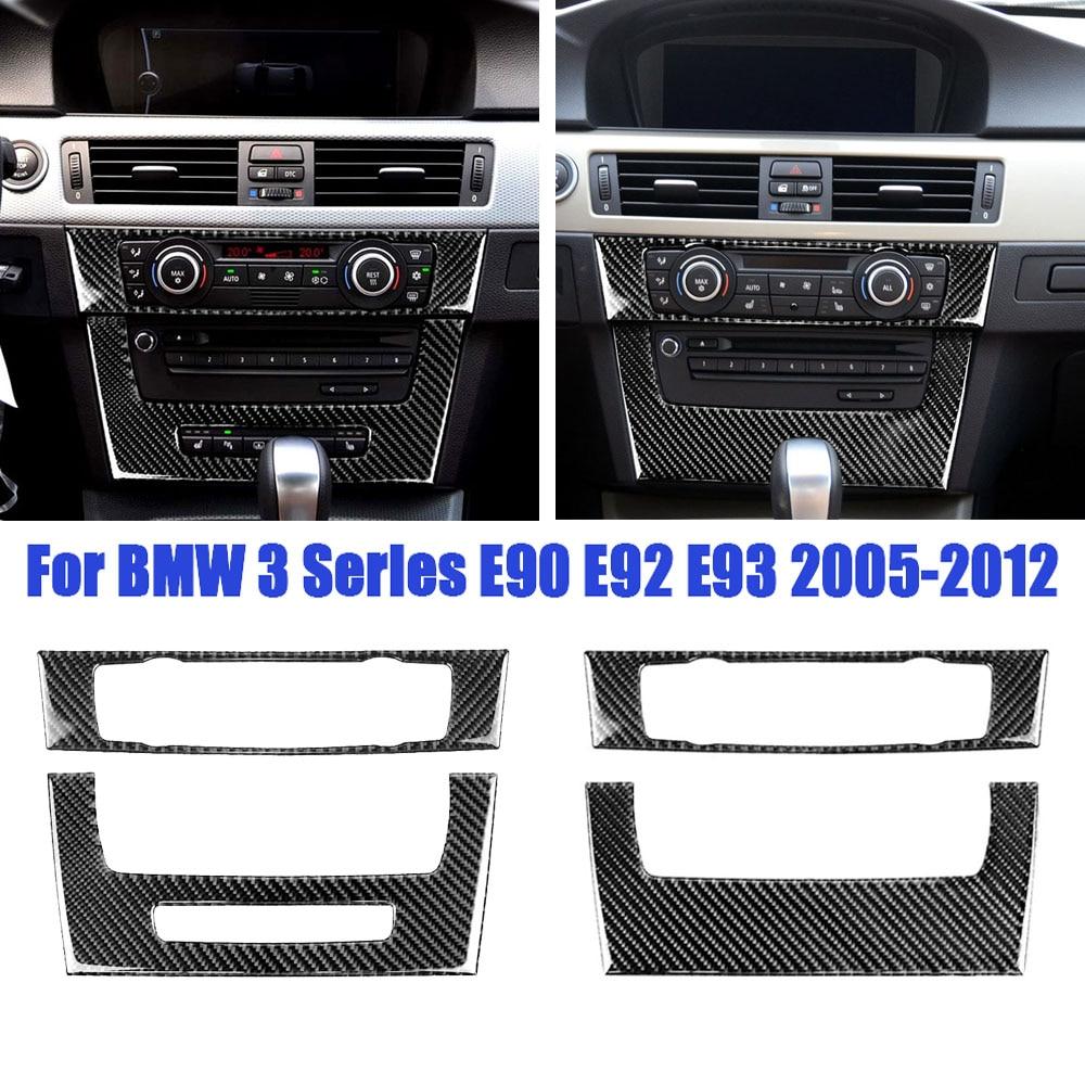 Prawdziwy samochód stylizacja klimatyzacji CD Panel naklejki na osłonę tapicerka dla BMW E90 E92 E93 serii 3 akcesoria do wnętrz samochodowych