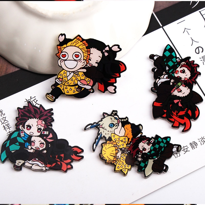 1 Uds. Kimetsu no Yaiba cartoon hero insignias para ropa acrílico insignias iconos kawaii en la mochila pin broche distintivo y10