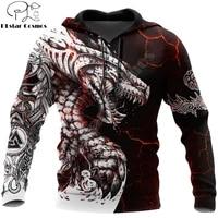 black white tattoo dragon 3d printed men hoodies sweatshirt unisex streetwear zipper pullover casual jacket tracksuits kj0192