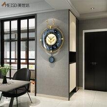 MEISD Metal Wall Clock Wrought Iron Watch Pendulum For Home Interiors Living Room Decoration Industr