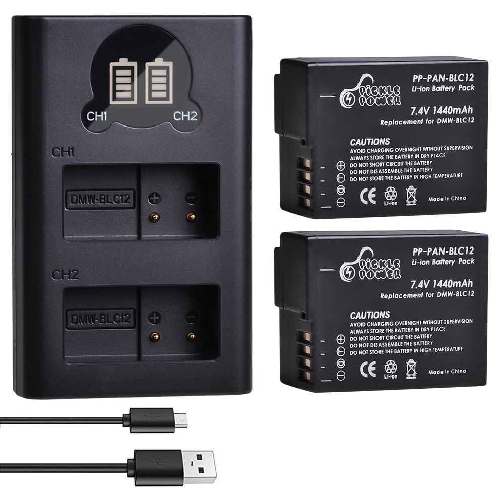 1440mAh DMW-BLC12PP BLC12E DMW-BLC12 batería LED Dual cargador para Panasonic Lumix DMC...