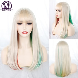 MSIWIGS Long with Bangs Straight Synthetic Wigs Mixed Blonde Green and Pink Color Heat Resistant Cosplay Hair for Women