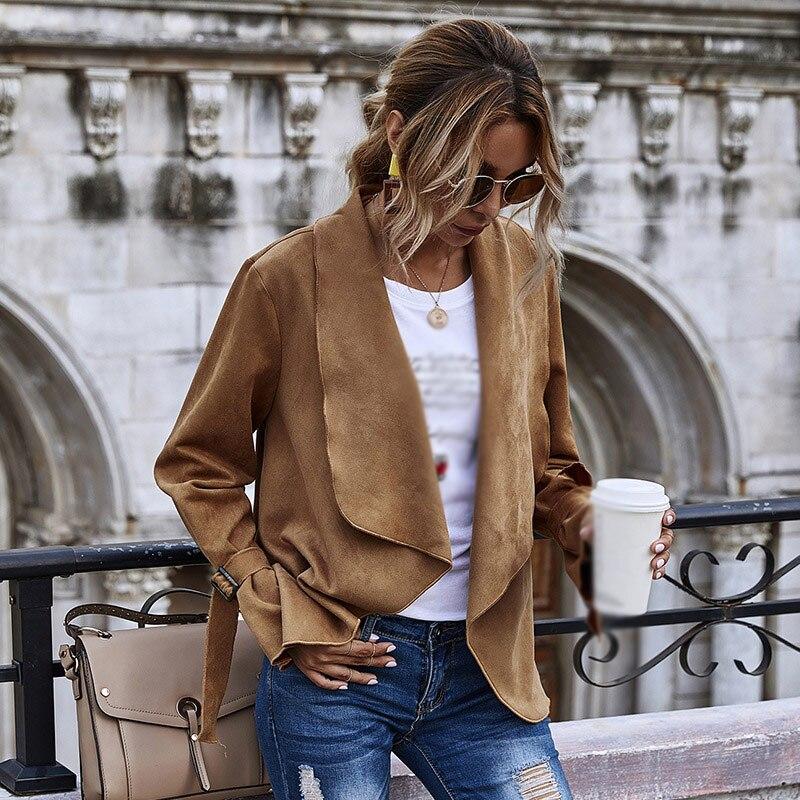 2020 New Fashion Suede Lapel Jacket Fall Long Sleeve Sweater Women's Firm Elegant Office Dress
