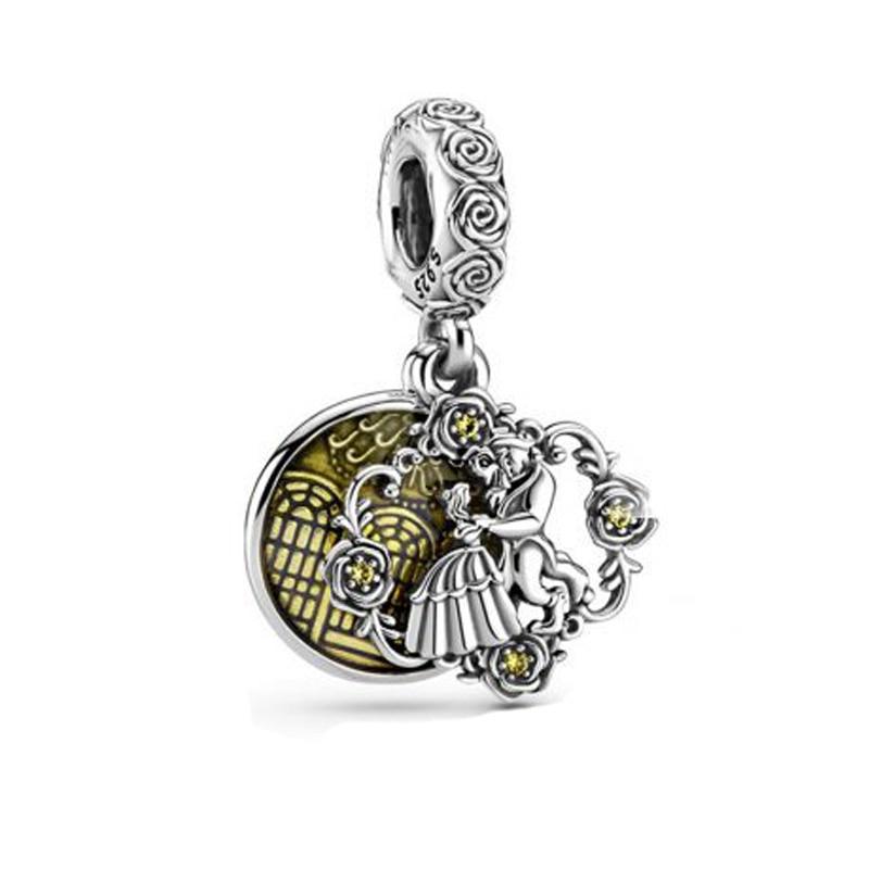 Auténtica pulsera colgante de plata de ley 925 para La Bella y La Bestia, pulseras para mujer DIY