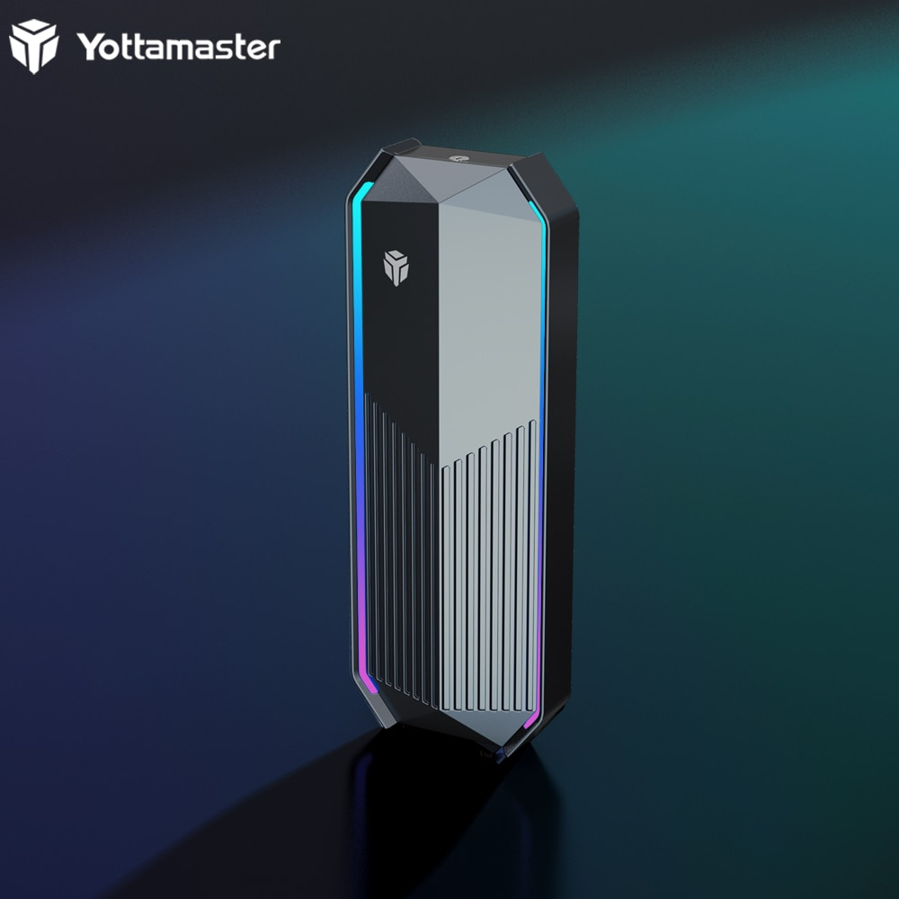 Yottamaster RGB Aluminum USB3.1 Type-C External M.2 NVMe Enclosure-Up to 990MB/s for M-Key&M+B Key 2230/2242/2260/2280 SSD-[WA1]