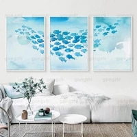 watercolor ocean canvas blue fish school beautiful art wall decor painting home cafe living room children bedroom hd poster