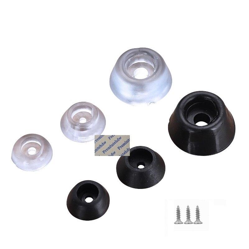 100 Pcs/Lot Klar Transparent Schwarzen Gummi Kegel Konische Möbel Tisch Füße Spitze Pad Stoßstange Boden Protektoren Glide Mit schraube