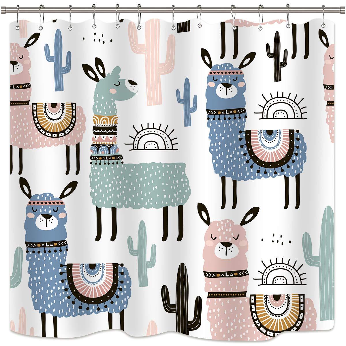 Dibujos animados de Alpaca animales colorido Llama Cactus lindo Lama baño Decoración