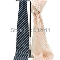 mirror polishing silver stainless metal scarves necktie holder stand hook neckties showing display stand