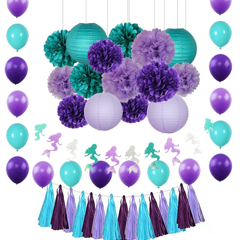 1 Set de decoración púrpura azul turquesa borlas de papel de seda borla de flores guirnalda de papel Set de guirnaldas para boda de ducha de bebé