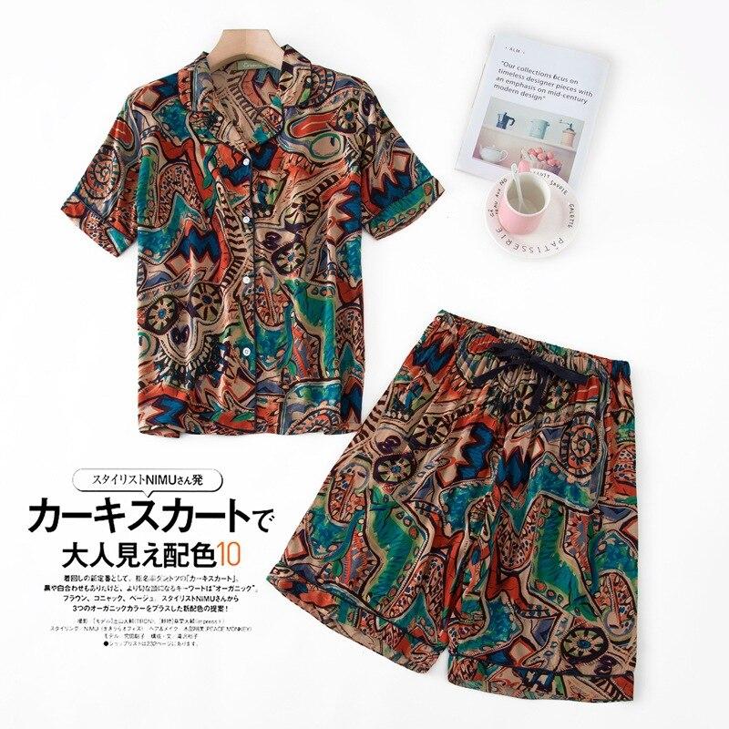2 Piece Set Short Sleeve+Shorts Pajamas Ladies Summer Print Pyjamas Japanese Sleepwear Turn-down Collar Pijama Plus Size100KG недорого