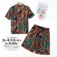 2 piece set short sleeveshorts pajamas ladies summer print pyjamas japanese sleepwear turn down collar pijama plus size100kg