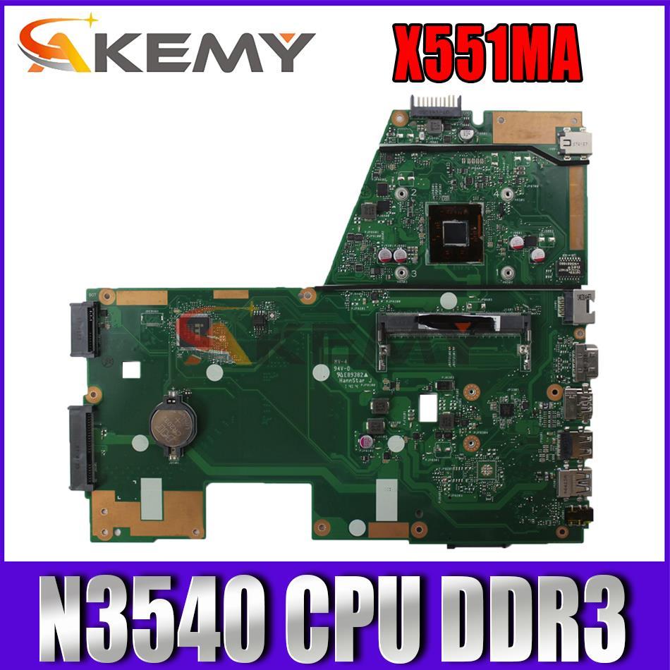 Akemy X551MA اللوحة الأم للكمبيوتر المحمول مع N3540 CPU DDR3 ل ASUS X551MA F551MA X551M D550M اللوحة الرئيسية الأصلية اختبار كامل 100%